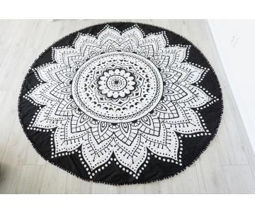 Roundie čierno-biela pom pom
