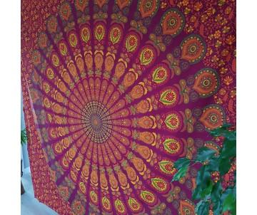 Mandala páv bordó