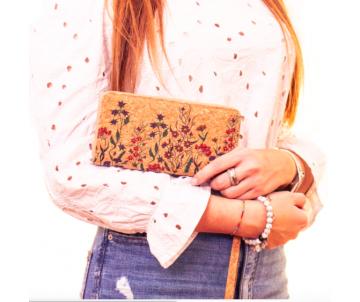 Korková peňaženka Flowers