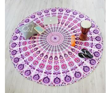 Roundie páv ružová plážová deka