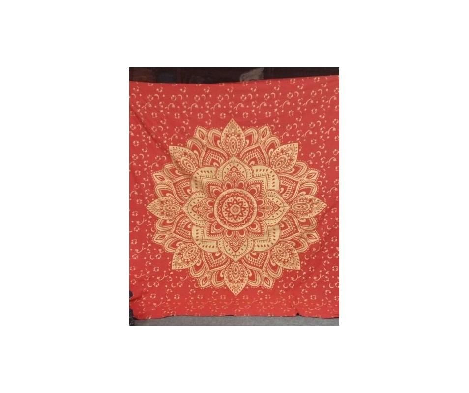 Mandala zlatý Lotos červená