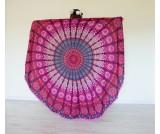Roundie Mandala páv pom pom fialová